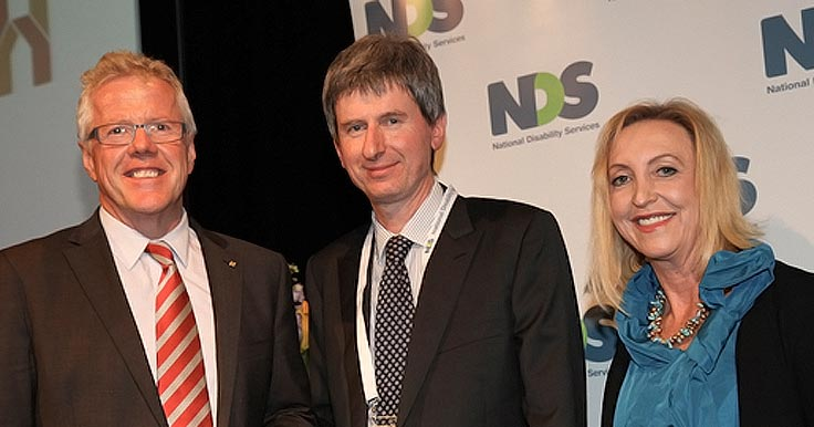 Andrew Richardson, Managing Director of House with No Steps with NDS Chief Executive Ken Baker and NDS President Vicki O'Halloran