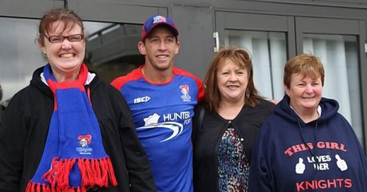 Kayleen and Julie with the Newcastle Knights