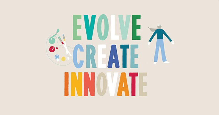 "Graphic words saying ""Evolve, Create, Innovate"""