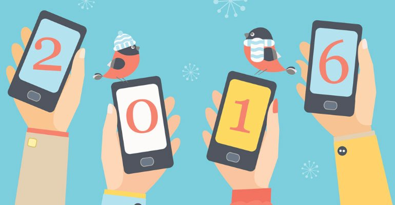 Cartoon of smartphones with the year 2016 on the screen