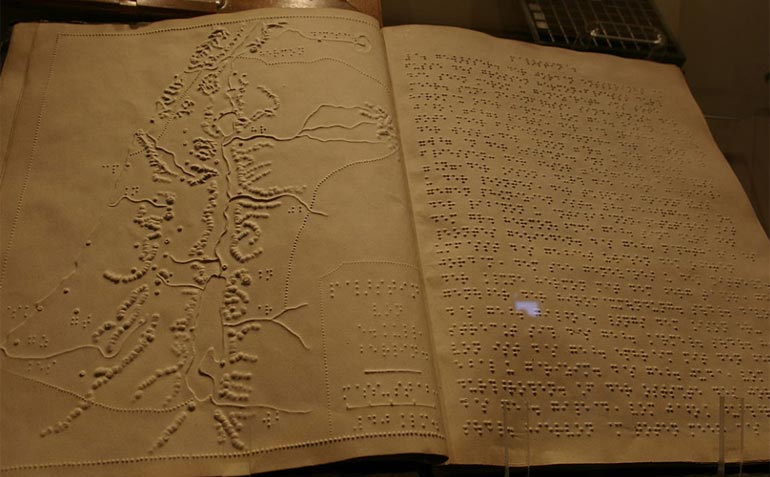 Book written in braille at the museum of Louis Braille