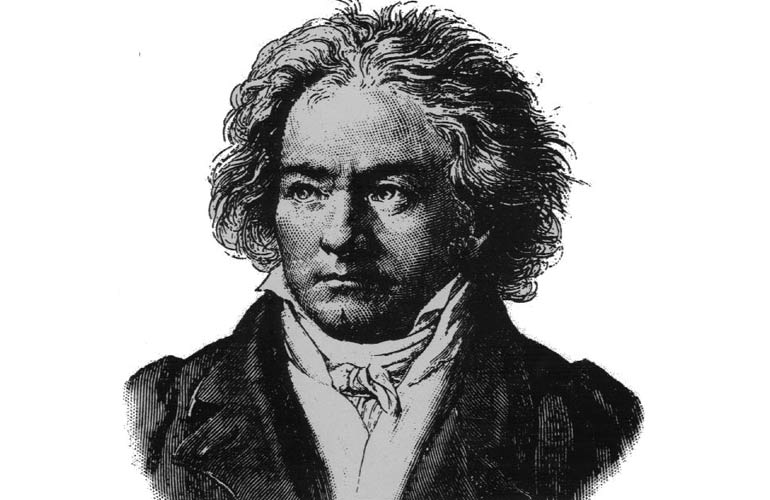 Drawing of a bust of Beethoven