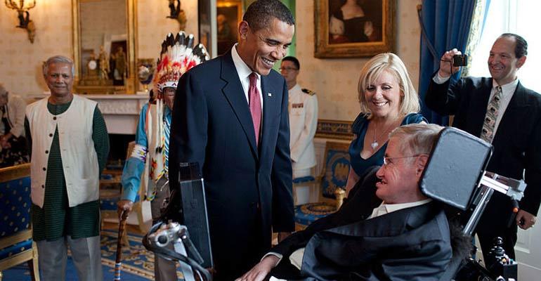 Stephen Hawking with Obama