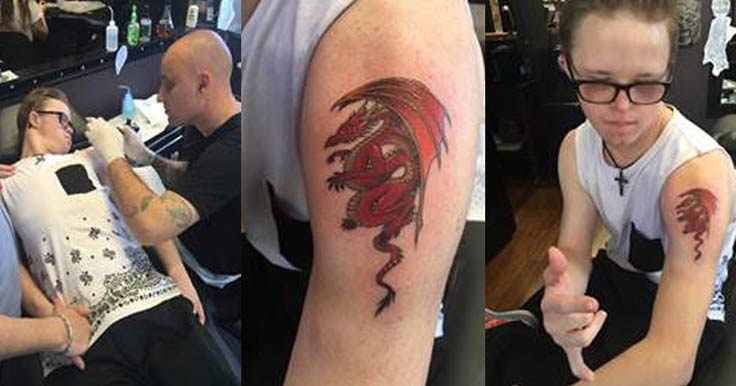 House with No Steps Customer, Mitchell, showing off his red dragon tattoo
