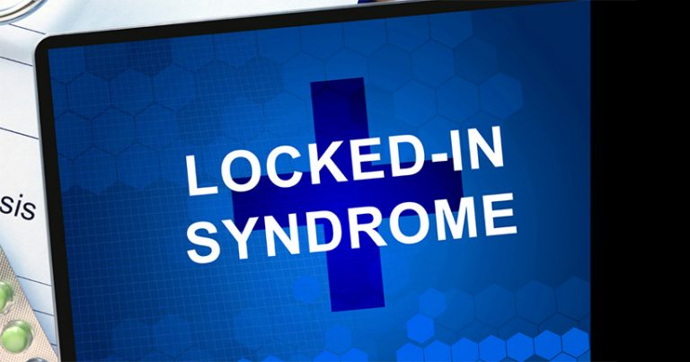 Graphic with the words 'locked-in syndrome' written