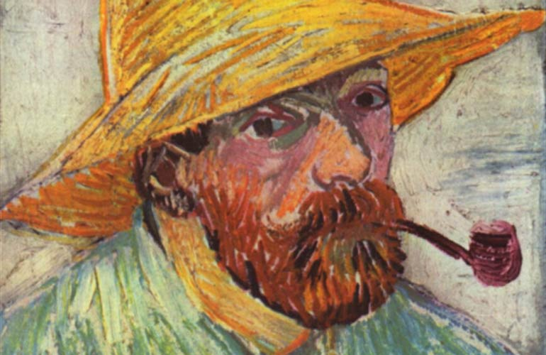 Portrait of Vincent van Gogh smoking a pipe