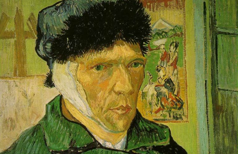 Self-portrait of Vincent van Gogh with his ear bandaged