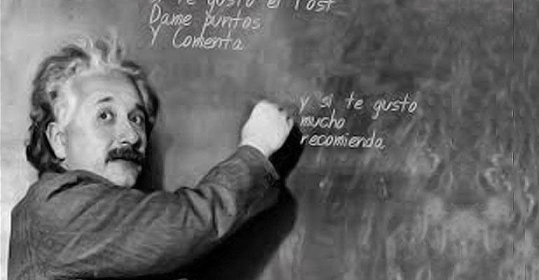 Einstein lecturing and drawing on a chalk board