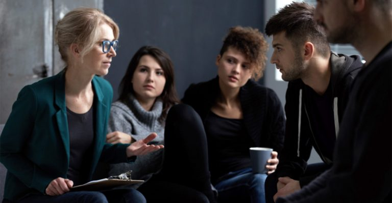 Group of people in an addiction support group