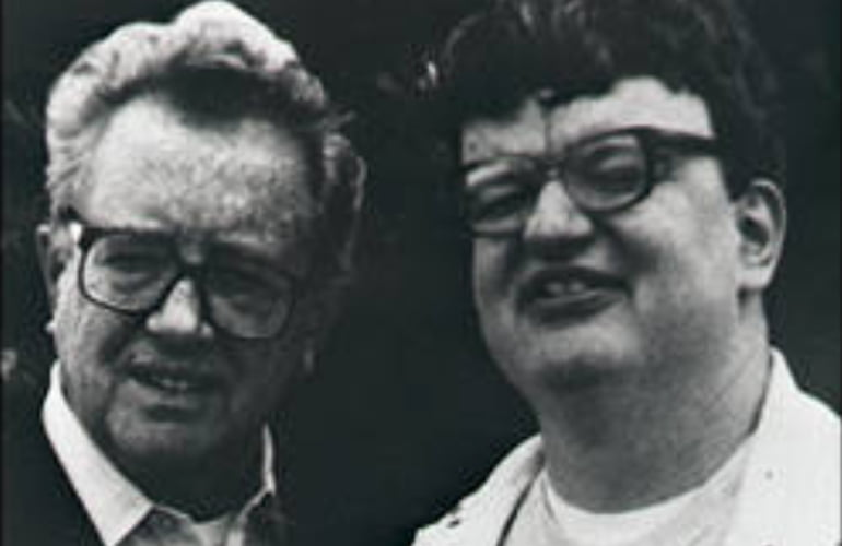 Kim Peek as a young man with his father
