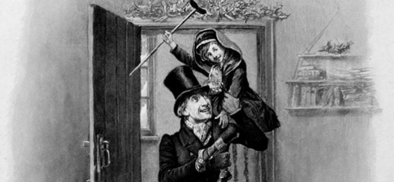 Drawing of Tony Tim holding crutches and being carried by Scrooge