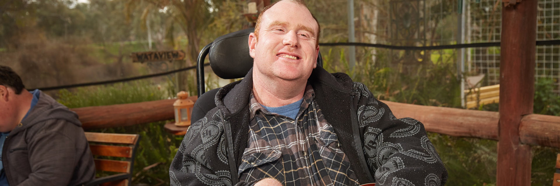 Man with a disability in an clinical and therapy supports service