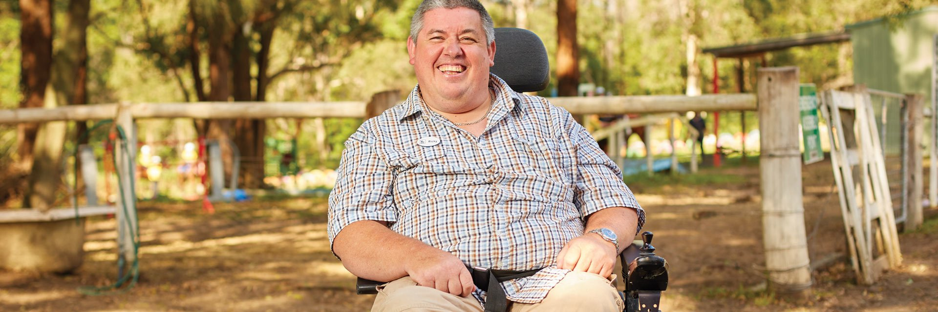 Man with a disability in an NDIS support