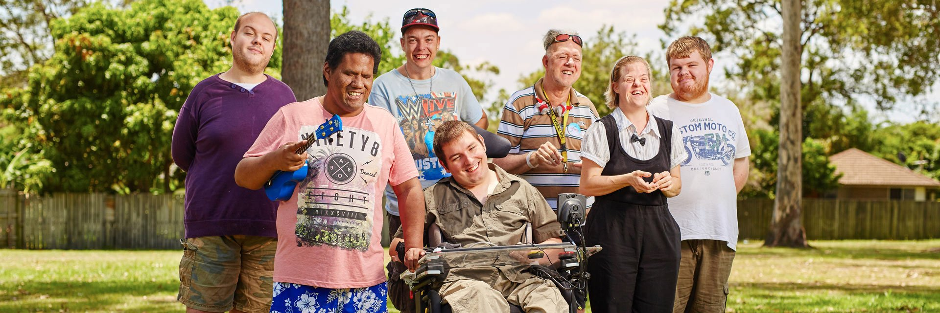 Group of Aruma customers hanging out as part of their disability services