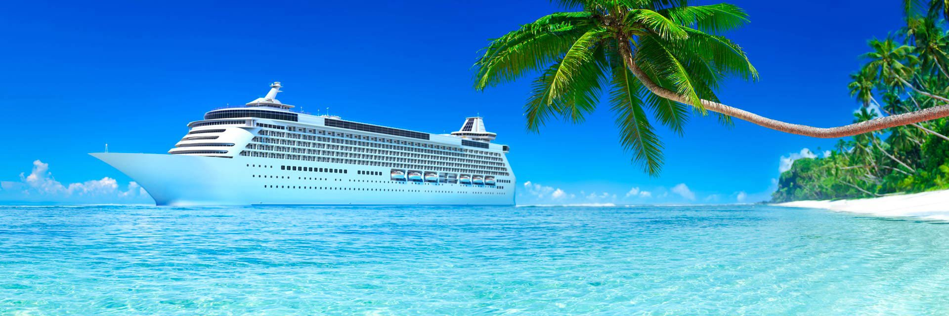 Cruise ship on a beach in paradise