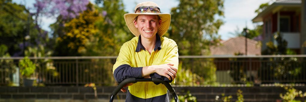Young man in disability supported employment
