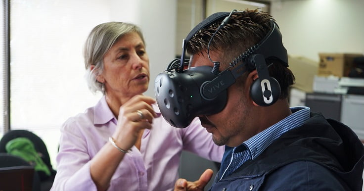Disability Support Worker with a virtual reality learning tool