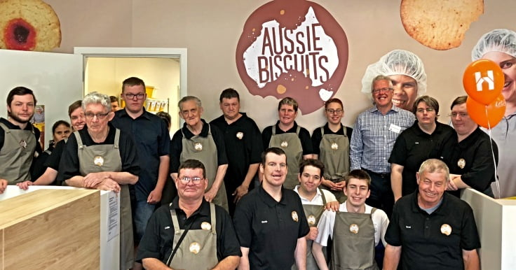 Group of Aussie Biscuits employees at the opening with CEO Andrew Richardson