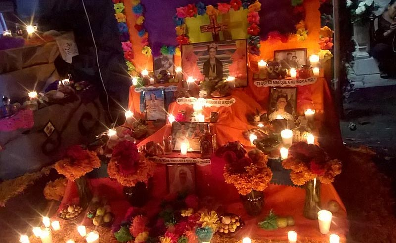 Day of the Dead altar to Frida Kahlo