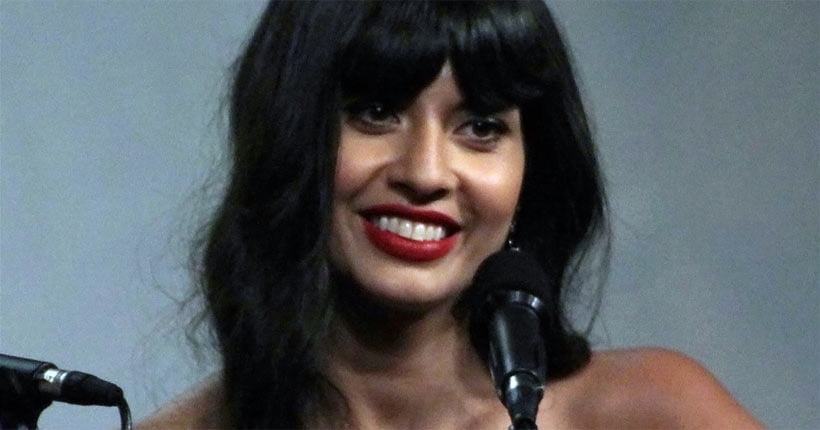 Jameela Jamil smiling at the camera