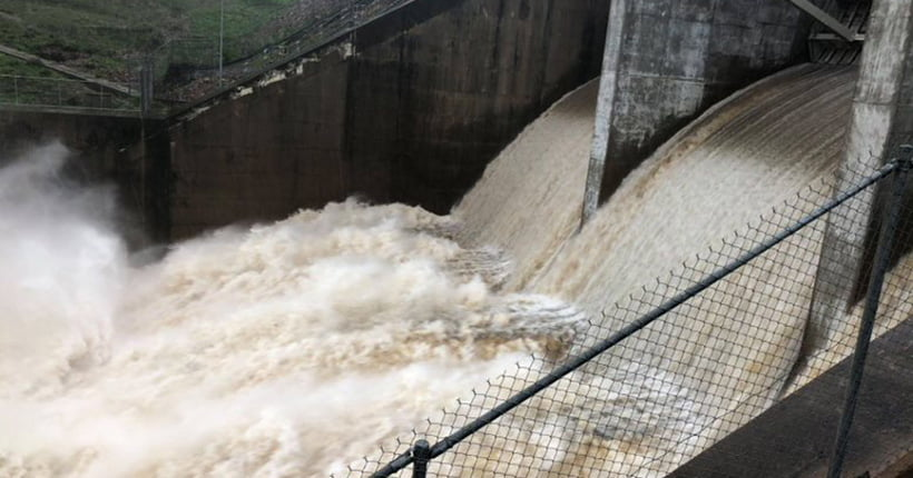 Flood waters gushing through the Floodgate in Townsville