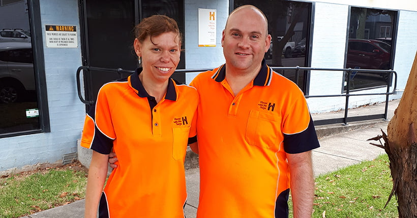 Michael and Elizabeth Matherson, wearing their orange House with No Steps shirt