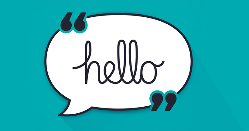 Speech bubble on a blue background with the word 'hello' inside of it