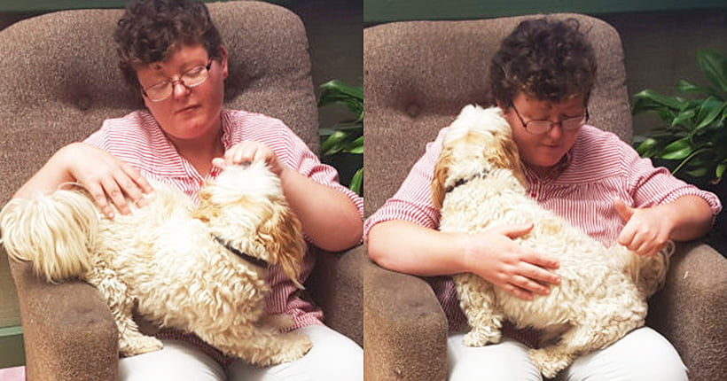 Two photos of Sarah sitting on a brown chair with Bazz on her lap