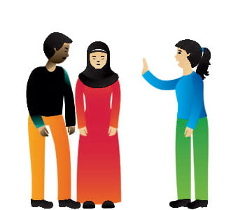 Illustration of one person making two others feel discriminated against.