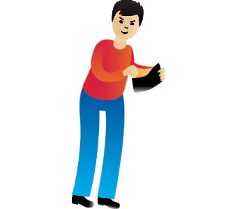 Illustration of a person taking money from a wallet.