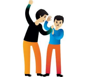 Illustration of one person physically abusing another.