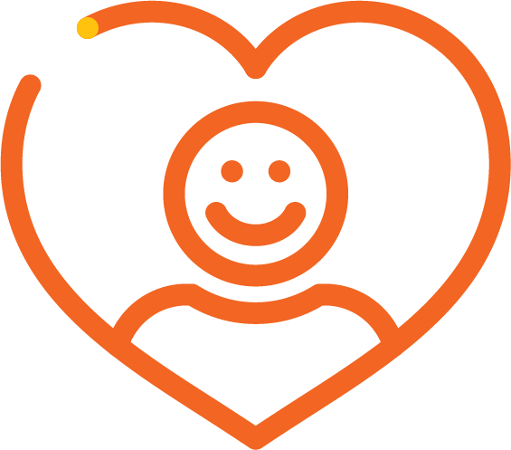 Icon of disability services with a customer inside a heart