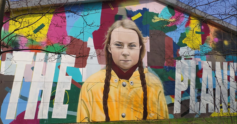 A Greta Thunberg painted mural