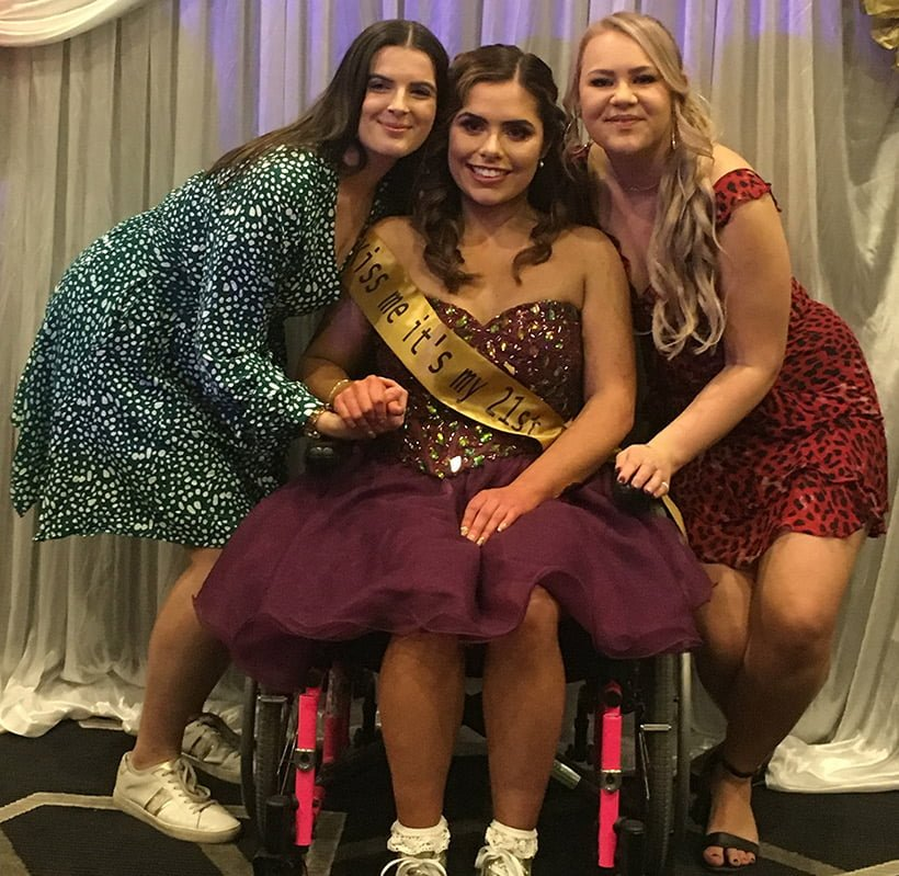 Fleur with guests at her 21st birthday party