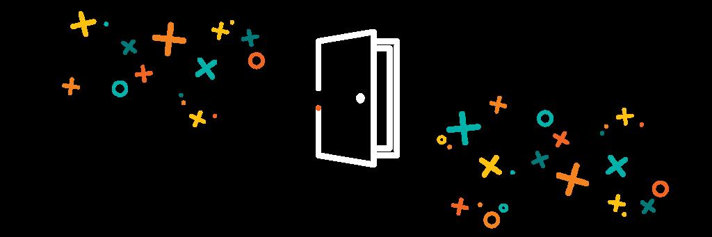 Graphic of an open door