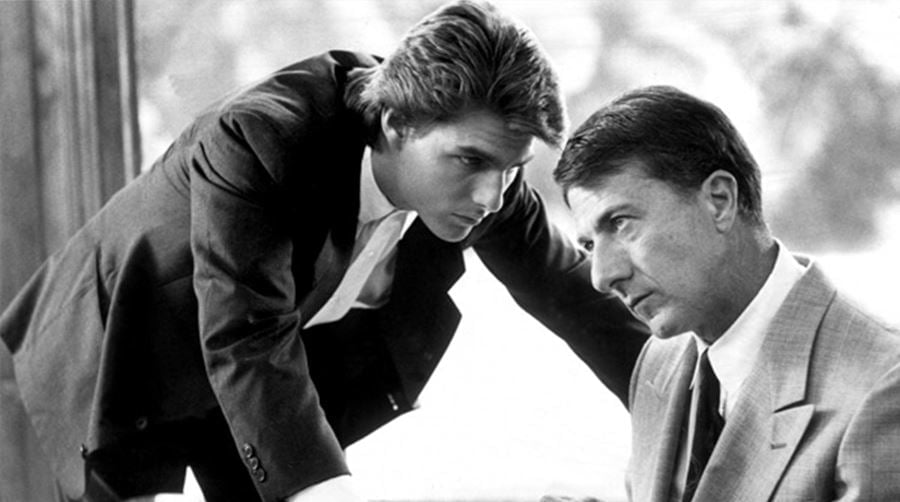 Screen from the movie Rain Man with Dustin Hoffman and Tom Cruise