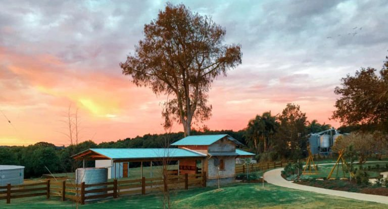 Shed on Summerland Farm at sunset
