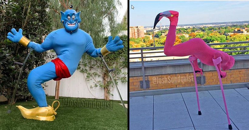 Two images side by side. In the first image a man is dressed up an a Genie, and on the right he is dressed as a flamingo.