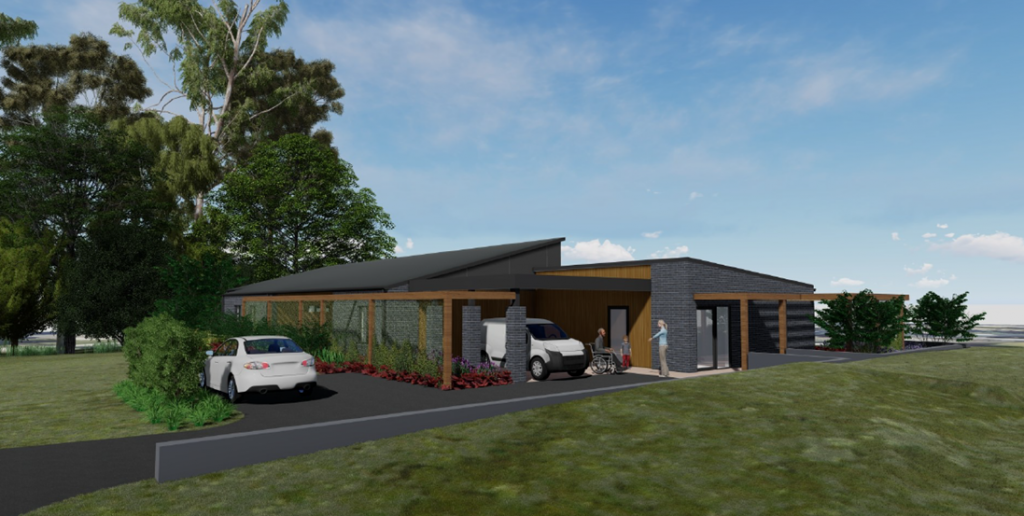 Rendered image of the front of a modern home